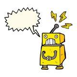 κινούμενα σχέδια λίγο ρομπότ με τη λεκτική φυσαλίδα Στοκ Εικόνες