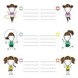 Κινούμενα σχέδια αθλητικών κοριτσιών και διανυσματική απεικόνιση κειμένων πλαισίων Στοκ Εικόνες