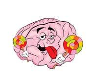 Κινούμενα σχέδια εγκεφάλου με το lollipop Στοκ Φωτογραφίες