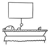 Κινούμενα σχέδια ενός ατόμου που βρίσκεται στο φέρετρο που κρατά ένα σημάδι Στοκ εικόνες με δικαίωμα ελεύθερης χρήσης