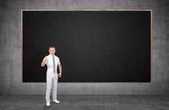 κινούμενα σχέδια επιχειρηματιών που παρουσιάζουν αντίχειρα ύφους Στοκ Εικόνα
