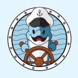 Κινούμενα σχέδια δελφινιών με το καπέλο καπετάνιου Στοκ Εικόνες