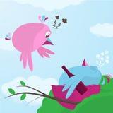 Κινούμενα σχέδια διασκέδασης ενός πουλιού που επιστρέφει σε έναν μεθυσμένο σύντροφο διανυσματική απεικόνιση
