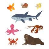 Κινούμενα σχέδια καθορισμένα: goldfish αστακός οδόβαινων καβουριών χταποδιών πεταλούδων ψαριών καρχαριών σαλιγκαριών Στοκ Εικόνες