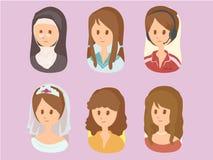 Κινούμενα σχέδια καθορισμένο 2vector γυναικών στοκ φωτογραφία με δικαίωμα ελεύθερης χρήσης
