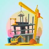 Κινούμενα σχέδια κατασκευής σπιτιών διανυσματική απεικόνιση
