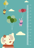 Κινούμενα σχέδια μπαλονιών, τοίχος μετρητών ή μετρητής ύψους από 50 έως 180 το εκατοστόμετρο, διανυσματικές απεικονίσεις ελεύθερη απεικόνιση δικαιώματος