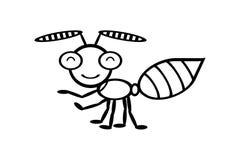 Κινούμενα σχέδια μυρμηγκιών στο άσπρο υπόβαθρο στοκ εικόνες