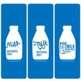Κινούμενα σχέδια λογότυπων μπουκαλιών γάλακτος Στοκ φωτογραφία με δικαίωμα ελεύθερης χρήσης