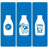 Κινούμενα σχέδια λογότυπων μπουκαλιών γάλακτος διανυσματική απεικόνιση