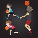 Κινούμενα σχέδια παίχτης μπάσκετ Στοκ Εικόνα
