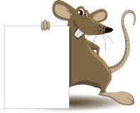 Κινούμενα σχέδια ποντικιών με το κενό σημάδι Στοκ φωτογραφία με δικαίωμα ελεύθερης χρήσης