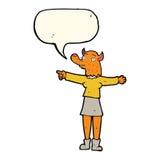 κινούμενα σχέδια που δείχνουν τη γυναίκα αλεπούδων με τη λεκτική φυσαλίδα Στοκ φωτογραφία με δικαίωμα ελεύθερης χρήσης