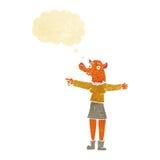 κινούμενα σχέδια που δείχνουν τη γυναίκα αλεπούδων με τη σκεπτόμενη φυσαλίδα Στοκ Εικόνες