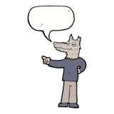 κινούμενα σχέδια που δείχνουν το άτομο λύκων με τη λεκτική φυσαλίδα Στοκ φωτογραφία με δικαίωμα ελεύθερης χρήσης
