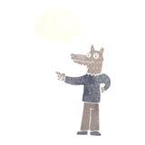 κινούμενα σχέδια που δείχνουν το άτομο λύκων με τη σκεπτόμενη φυσαλίδα Στοκ φωτογραφία με δικαίωμα ελεύθερης χρήσης