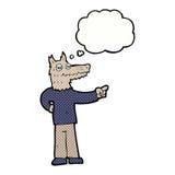 κινούμενα σχέδια που δείχνουν το άτομο λύκων με τη σκεπτόμενη φυσαλίδα Στοκ Φωτογραφία