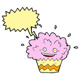 κινούμενα σχέδια που εκρήγνυνται cupcake με τη λεκτική φυσαλίδα Στοκ Εικόνα
