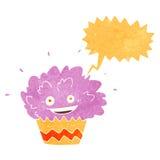 κινούμενα σχέδια που εκρήγνυνται cupcake με τη λεκτική φυσαλίδα Στοκ φωτογραφία με δικαίωμα ελεύθερης χρήσης