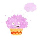 κινούμενα σχέδια που εκρήγνυνται cupcake με τη σκεπτόμενη φυσαλίδα Στοκ Εικόνες