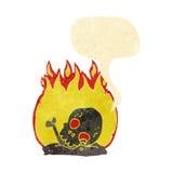 κινούμενα σχέδια που καίνε τα παλαιά κόκκαλα με τη λεκτική φυσαλίδα Στοκ Φωτογραφίες