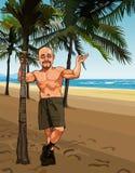 Κινούμενα σχέδια που χαμογελούν το φαλακρό άτομο στα σορτς σε μια αμμώδη παραλία με τους φοίνικες διανυσματική απεικόνιση
