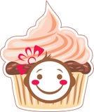 Κινούμενα σχέδια που χαμογελούν cupcake Στοκ Εικόνες
