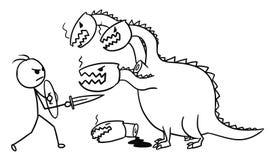 Κινούμενα σχέδια της πάλης ατόμων με το δράκο Στοκ Φωτογραφία