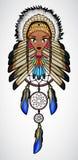 Κινούμενα σχέδια του ινδικού κοριτσιού αμερικανών ιθαγενών με catcher ονείρου Στοκ εικόνα με δικαίωμα ελεύθερης χρήσης