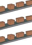 Κιβώτια στις ζώνες μεταφορέων απεικόνιση αποθεμάτων
