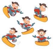 Κινούμενα σχέδια των χαριτωμένων αγοριών Snowboarding Στοκ εικόνες με δικαίωμα ελεύθερης χρήσης