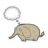 κινούμενα σχέδια λυπημένα λίγος ελέφαντας με τη σκεπτόμενη φυσαλίδα Στοκ Φωτογραφίες