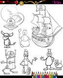 Κινούμενα σχέδια φαντασίας που τίθενται για το χρωματισμό του βιβλίου Στοκ Φωτογραφία