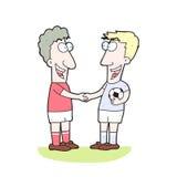 Κινούμενα σχέδια δύο ποδοσφαιριστές που τινάζουν το χέρι Στοκ Εικόνες