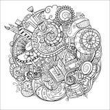 Κινούμενα σχέδια doodles, ρουτίνα πρωινού Στοκ Φωτογραφία