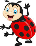 Κινούμενα σχέδια ladybug που κυματίζουν Στοκ φωτογραφία με δικαίωμα ελεύθερης χρήσης