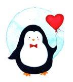 Κινούμενα σχέδια penguin για τα μωρά και τα παιδάκια απεικόνιση watercolor που απομονώνεται Στοκ Εικόνες