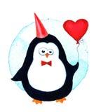 Κινούμενα σχέδια penguin για τα μωρά και τα παιδάκια απεικόνιση watercolor που απομονώνεται Στοκ Φωτογραφίες