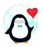 Κινούμενα σχέδια penguin για τα μωρά και τα παιδάκια απεικόνιση watercolor που απομονώνεται Στοκ φωτογραφία με δικαίωμα ελεύθερης χρήσης