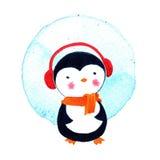 Κινούμενα σχέδια penguin για τα μωρά και τα παιδάκια απεικόνιση watercolor που απομονώνεται Στοκ Φωτογραφία
