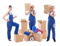 Κινούμενη έννοια ημέρας - άνθρωποι μπλε σε workwear με το χαρτόνι boxe στοκ εικόνα με δικαίωμα ελεύθερης χρήσης