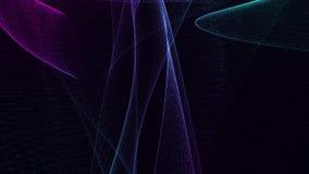 Κινούμενη αφαίρεση που αποτελείται από διάφορες συνδεδεμένες γραμμές στους μπλε τόνους Μαύρη ανασκόπηση ελεύθερη απεικόνιση δικαιώματος