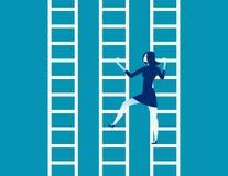 Κινούμενη μεταβαλλόμενη σκάλα επιχειρηματιών προς άλλη Επιχείρηση έννοιας διανυσματική απεικόνιση