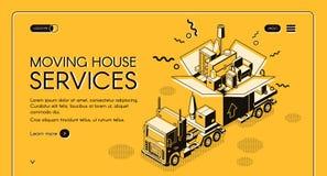 Κινούμενο σπιτιών πρότυπο webpage υπηρεσιών διανυσματικό απεικόνιση αποθεμάτων