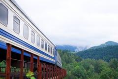 Κινούμενο τραίνο ενάντια στο τοπίο στοκ φωτογραφία