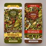Κινούμενων σχεδίων διανυσματικά κάθετα εμβλήματα τροφίμων doodles μεξικάνικα Στοκ Εικόνες