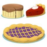 Κινούμενων σχεδίων κέικ φρέσκος νόστιμος επιδορπίων γλυκός ζύμης γαστρονομικός σπιτικός εύγευστος απεικόνισης πιτών διανυσματικός διανυσματική απεικόνιση