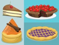 Κινούμενων σχεδίων κέικ φρέσκος νόστιμος επιδορπίων γλυκός ζύμης γαστρονομικός σπιτικός εύγευστος απεικόνισης πιτών διανυσματικός απεικόνιση αποθεμάτων