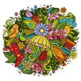 Κινούμενων σχεδίων χαριτωμένη απεικόνιση ανοίξεων doodles συρμένη χέρι Στοκ Εικόνες