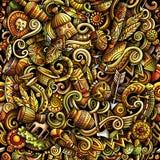 Κινούμενων σχεδίων χαριτωμένο άνευ ραφής σχέδιο της Αφρικής doodles συρμένο χέρι Στοκ Φωτογραφία